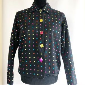 Vintage Jacket Colorful Embroidered Dots Boxy Cut